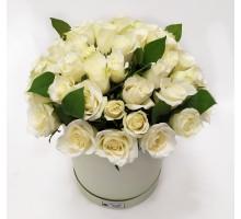 51 белая роза Кения в коробке